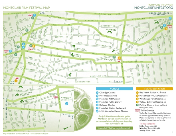 Parking map for the Clairidge Theater and Montclair Public Library